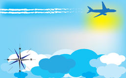 Trip background with airplane. Vector illustration Royalty Free Stock Photos