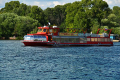 Trip boat on the Moscow canal Royalty Free Stock Photos