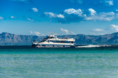 Trip boat. On sea near  Alcudia  in Spain island Mallorca  at  late summer Stock Photos