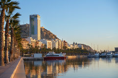 Trip boats in Alicante bay Royalty Free Stock Image