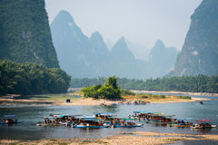 Trip boats lined up on Li river royalty free stock photo