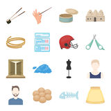 Trip, business, hobby and other web icon in cartoon style.bone, ram, skirt icons in set collection. Trip, business, hobby and other  icon in cartoon style.bone Royalty Free Stock Photography