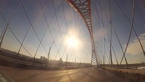 A trip on a cable-stayed bridge in Sunny day stock footage