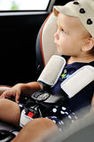Trip in car for baby Stock Photos