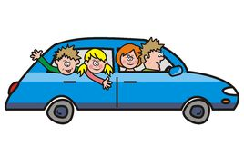 Trip - car. Family riding in a blue car on a trip Stock Photography