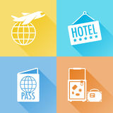 Trip colorful flat icons Stock Image