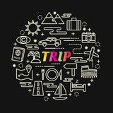 Trip colorful gradient with line icons set. Vector editable stroke Stock Image