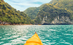 Trip on colourful kayak Stock Images