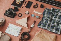 Trip concept - set of cool photography man stuff Stock Photos