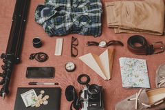 Trip concept - set of cool photography man stuff Stock Image