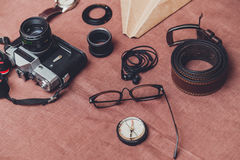 Trip concept - set of cool photography man stuff Royalty Free Stock Photo