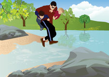 A trip with Dad. Father holds two children and jumped over the a creek in nature trip Royalty Free Stock Photography