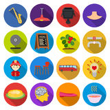 Trip, Desert, rest and other web icon in flat style.fast food, nature, businessicons in set collection. Trip, Desert, rest and other  icon in flat style.fast Stock Images