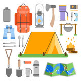 Trip design elements, travel icon set. Vector illustration Stock Photos