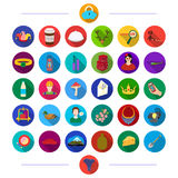 Trip, entertainment, business and other web icon in flat style.recreation, tourism, cooking, icons in set collection. Royalty Free Stock Photos