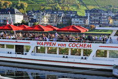 Trip on ferry on the Mosel river  Royalty Free Stock Photos