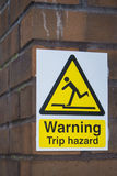 Trip hazard sign Stock Images