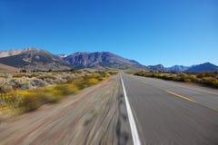A trip at high speed through the  desert Royalty Free Stock Photos
