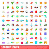 100 trip icons set, cartoon style. 100 trip icons set in cartoon style for any design vector illustration Royalty Free Stock Photography