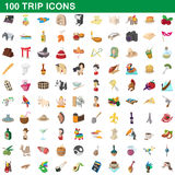 100 trip icons set, cartoon style. 100 trip icons set in cartoon style for any design vector illustration Stock Photos