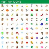 100 trip icons set, cartoon style. 100 trip icons set in cartoon style for any design illustration vector illustration