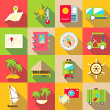 Trip icons set, flat style Royalty Free Stock Images