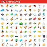 100 trip icons set, isometric 3d style. 100 trip icons set in isometric 3d style for any design illustration vector illustration