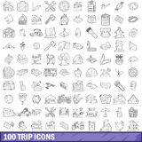 100 trip icons set, outline style. 100 trip icons set in outline style for any design vector illustration stock illustration