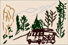 Trip. An illustration of a minivan in front of a mountain and surrounded by trees Royalty Free Stock Photography