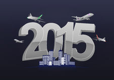 2015 trip. Illustration of 2015 text with airplanes and city royalty free illustration
