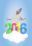 2016 trip. Illustration of 2016 text with airplanes and rocket Stock Photo