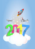 2017 trip. Illustration of 2017 text with airplanes and rocket stock illustration