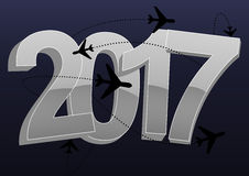 2017 trip. Illustration of 2017 text with airplanes shape stock illustration