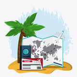 Trip implements. Time to travel design. Vector graphic Stock Photos