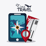 Trip implements. Time to travel design. Vector graphic Royalty Free Stock Photo