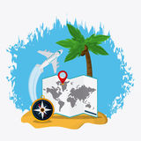 Trip implements. Time to travel design. Vector graphic Royalty Free Stock Image