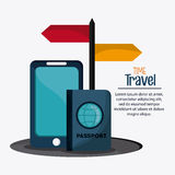 Trip implements. Time to travel design. Vector graphic Stock Images