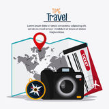 Trip implements. Time to travel design. Vector graphic Stock Photo