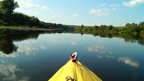 Trip in kayak on picturesque river. Day trip in kayak along the picturesque river stock footage