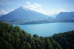 Trip on lake of thun and mountain of niesen. Landscape scene in Bern Switzerland stock images