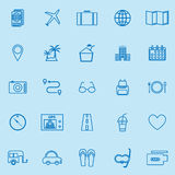 Trip line color icons on blue background Stock Images