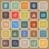 Trip line flat icons on brown background Royalty Free Stock Photography