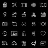 Trip line icons on black background Royalty Free Stock Images