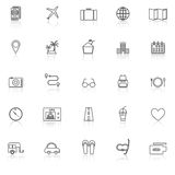 Trip line icons with reflect on white background Stock Images