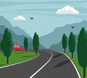 Trip in mountains. Cute small car rides on mountain road. Vector illustration. Trip in mountains. Cute small car rides on mountain road. Vector illustration Royalty Free Stock Photos