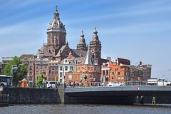 Trip through the picturesque canals of Amsterdam. Amsterdam, North Holland, The Netherlands - May 20 2018:  trip through the picturesque canals of Amsterdam royalty free stock images