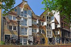 Trip through the picturesque canals of Amsterdam. Amsterdam, North Holland, The Netherlands - May 20 2018:  trip through the picturesque canals of Amsterdam stock image
