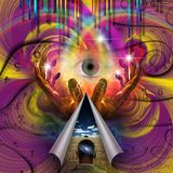 Trip. Psychedelic Abstract. Eye of God. Hands of prayer. Human elements were created with 3D software and are not from any actual human likenesses stock images