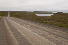 Trip on the road in iceland. A beautiful road among wild nature Stock Photos