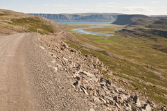Trip on the road in iceland. A beautiful dirt road among wild nature Royalty Free Stock Photo